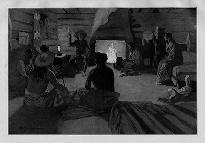 FREDERIC REMINGTON BOY TELLING STORIES BY THE FIREPLACE CHIMNEY INDIANS LANTERN
