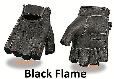 FINGERLESS Black Leather Gloves BLACK FLAMES Gel Palm Motorcycle Biker -