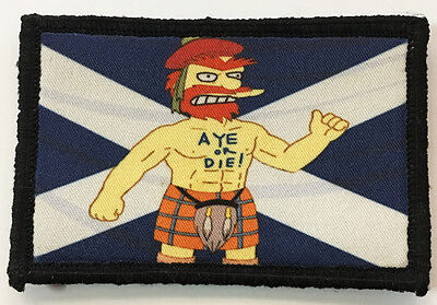 Simpsons Willie Scotland Flag Morale Patch Tactical Military Army Badge Flag
