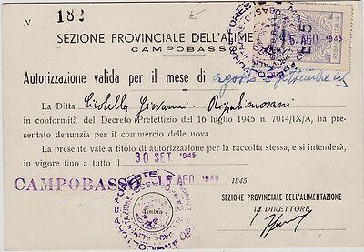 #CAMPOBASSO: agosto 1945- AUTORIZZAZIONE PER LA VENDITA DI UOVA (L. 5)