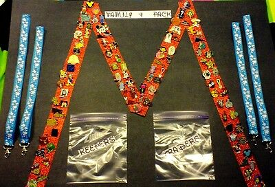 Disney Pins FAMILY 4 PACK receive 50 pin lot and 4 lanyards ready for Disney!