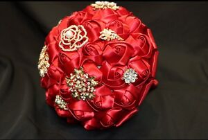 Red brooches bouquet