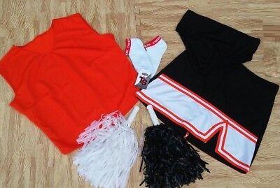 ADULT L XL Cheerleader Uniform Top Skirt Sock Pom Brief 40-42/30-31 NEW BENGALS