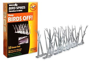 Bird Repelling Spikes with Glue 10 ft Bird-X Kit Plastic Repellent Birds Pigeon