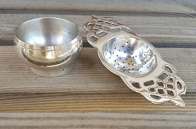 Antique Style 2 Handle Tea Strainer Silver Plated EPNS & Drip Tray for Loose Tea