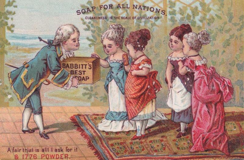 Victorian Trade Card Babbitts Best & 1776 Powder Women (1 Pregnant) Examine Soap