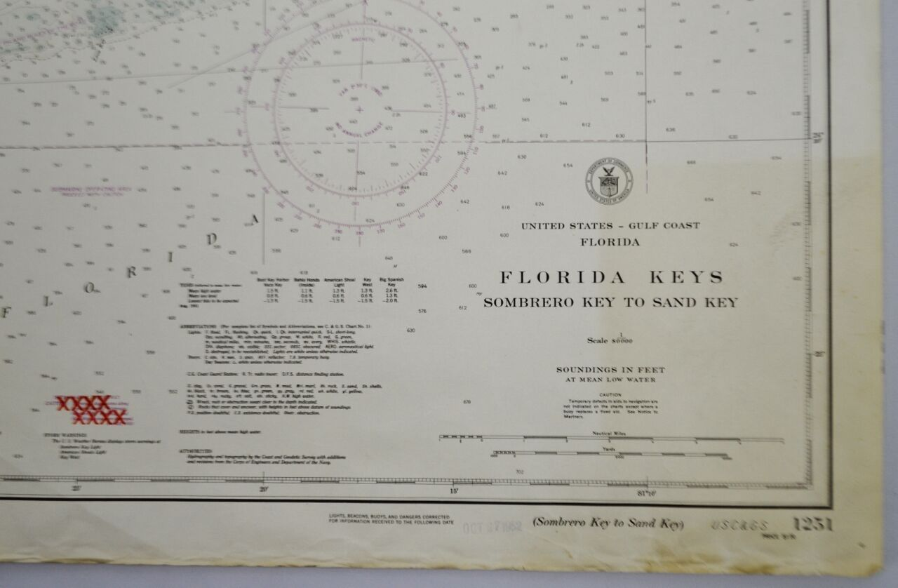 1952 United States Gulf Coast Nautical Chart No. 1251