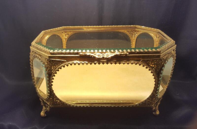 Antique LRG Jewelry Casket Beveled Glass Ormolu Vitrine Display Case Trinket Box