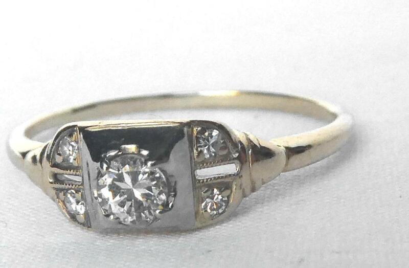 Vintage 14k Gold Traub Orange Blossom Art Deco Diamond Engagement Ring Sz 9.5
