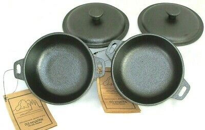 2 Cup Mini Dutch Oven,Cast Iron,Old Mountain, Pre-Seasoned w/Dome Lid Set of -
