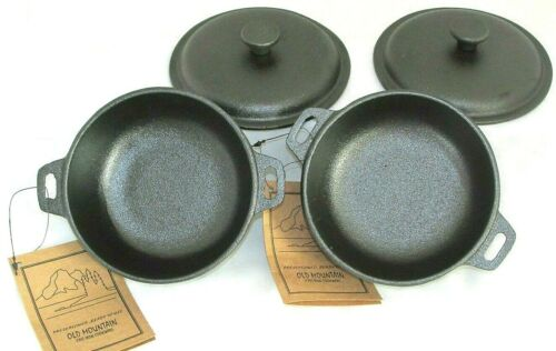 2 Cup Mini Dutch Oven,Cast Iron,Old Mountain, Pre-Seasoned w/Dome Lid Set of 2