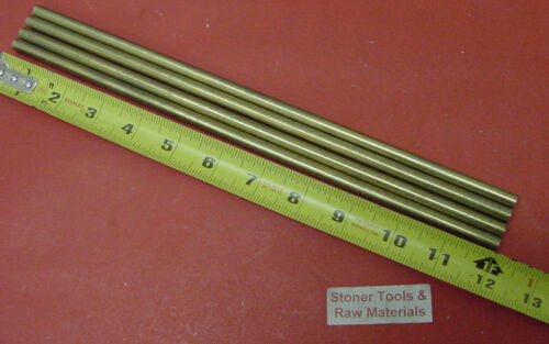 "4 Pieces 1/4"" C360 BRASS SOLID ROUND ROD 12"" long H02 Lathe Bar Stock .25"""