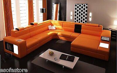 5022 Polaris Orange Contemporary Leather Sectional Sofa W/ Free Shipping