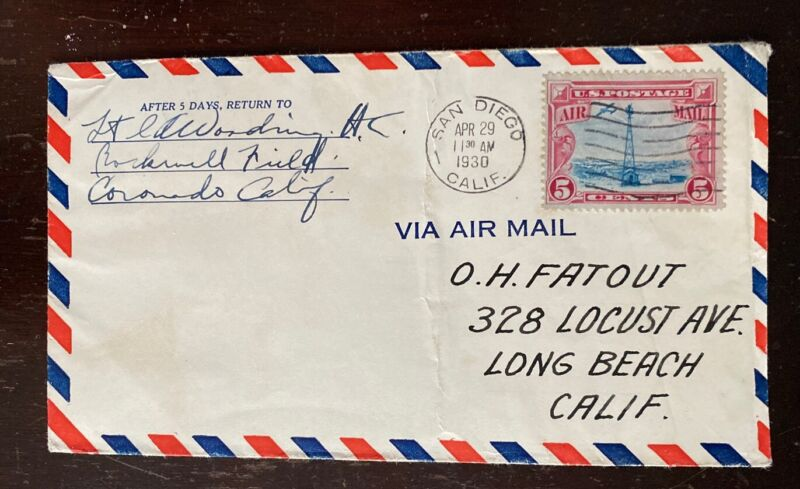 1930 Flight Cover Pilot Signed Ira Woodring - Thunderbirds - Lindbergh Escort