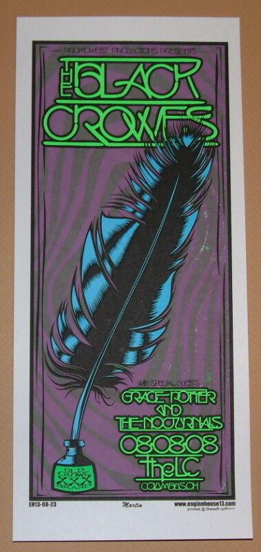 Black Crowes Columbus OH Mike Martin Concert Poster Handbill Print 2008