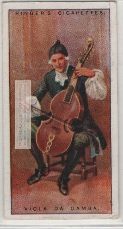 Viola Da Gamba  Bowed  Fretted Stringed Music Instrument 1920s Trade Ad Card