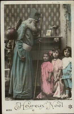 Christmas French Santa Claus Blue Suit Children Real Photo Postcard c1910