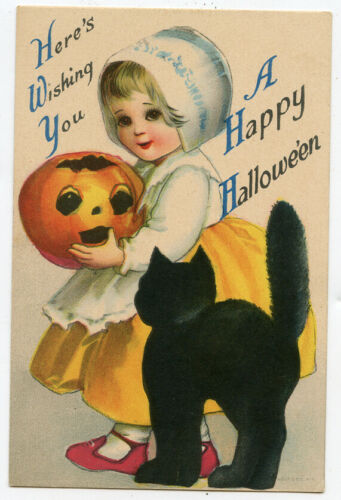 Unsigned Clapsaddle Halloween Child with JOL Black Cat