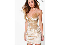 Champagne crushed velvet bodycon dress