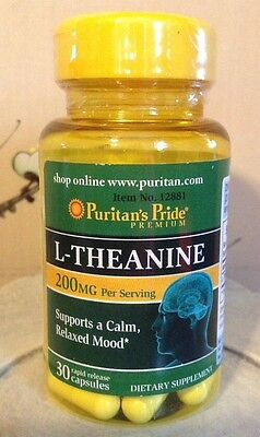 L Theanine 200 Mg  Supports Pms   Anxiety For A Calm Relaxed Mood  30 Capsules
