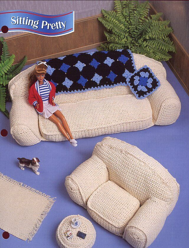 Annie/'s crochet pattern leaflet Casual Comfort Furnishings ~ fits Barbie dolls
