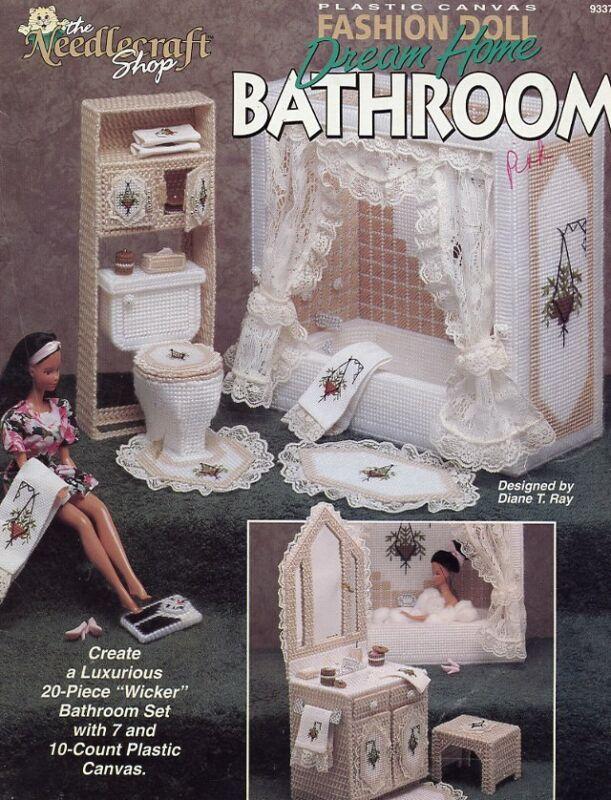 Fashion Doll Dream Home Bathroom Plastic Canvas PATTERN/INSTRUCTIONS