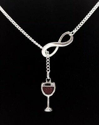 Red Wine Glass Necklace Wine Theme Gift Bridal Wedding Y Lariat Style Jewelry - Wine Glass Necklace