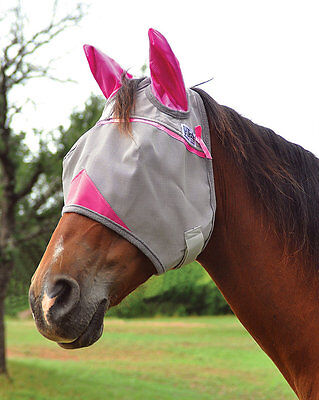 CASHEL CRUSADER FLY MASK STANDARD WITH EARS PINK HORSE TACK SUN PROTECTION
