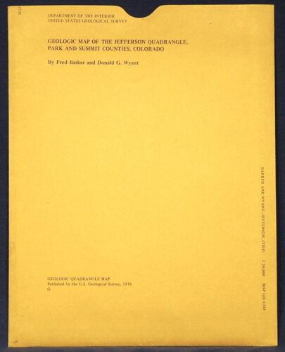 USGS JEFFERSON, MILLIGAN LAKES COLORADO Two Geologic Maps, PARK & SUMMIT Co 1987