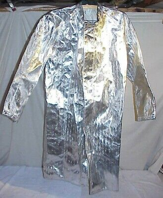 Msa Silver Aluminized Jacket Coat Large Heat Resistant 364921 Fireman