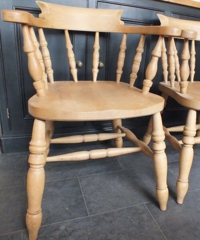 Four Lovely Quality Near Perfect Heavy Natural Beech Captains Carver Chairs