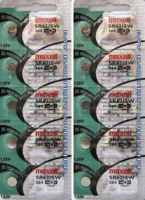MAXELL SR621SW 364 WATCH BATTERY SILVER OXIDE X10
