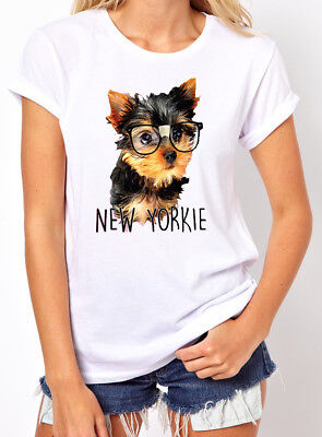 🔥 New Yorkie Women T shirt Funny Yorkshire dog new puppy cute glasses (Funny Glasses T-shirt)