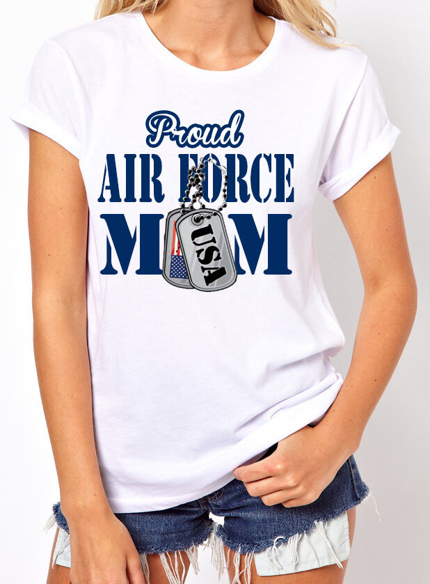 Proud Air Force Mom Women's T-Shirt. US Army Military Tags USA Flag Gift for Mom