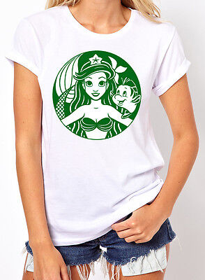 Princess Ariel Little Mermaid Flounder starbucks Inspired Women's T-Shirt. S-2XL