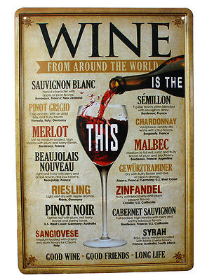 WINE FROM AROUND THE WORLD Vintage metal Tin sign Home Pub Bar wall decor