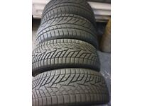 4 snow tyres front 225 45 19 Rear 255 40 19 only a used 1 winter