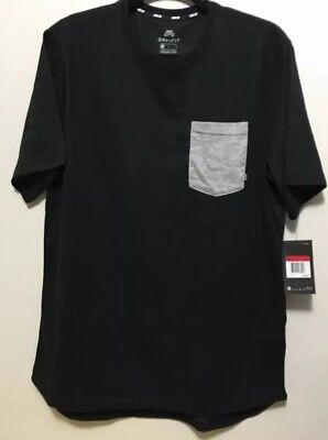NWT NIKE MEN'S SZ Large SB DRY SS POCKET TOP T-shirt Tee AJ5017-010  BLACK Grey ()