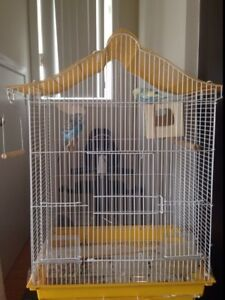 LARGE CAGE + 2 PARAKEETS + SWING + CALCIUM SUPPLEMENT