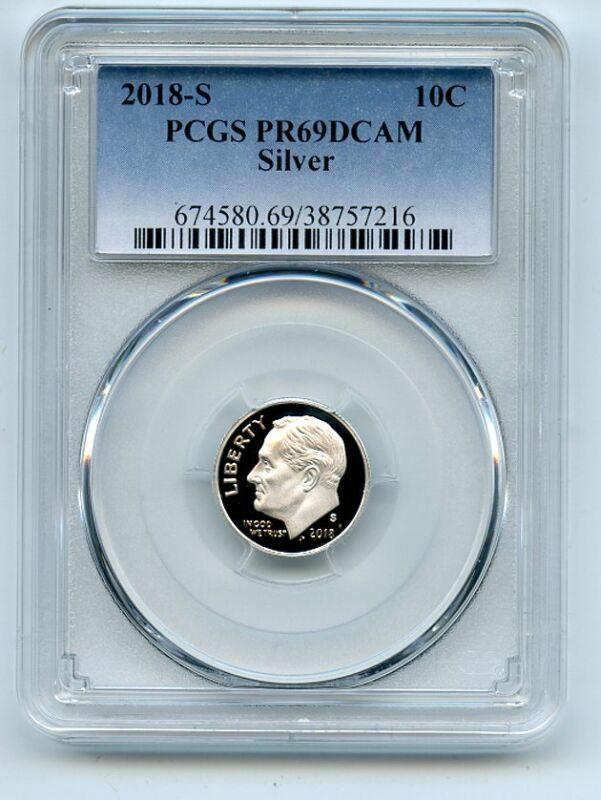 2018 S 10C Silver Roosevelt Dime PCGS PR69DCAM