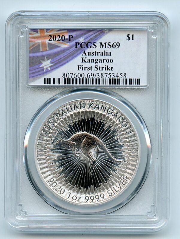 2020 P $1 Australian Silver Kangaroo PCGS MS69 First Strike