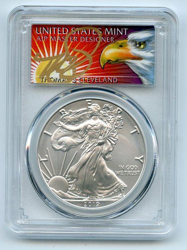 2019 W $1 Burnished Silver Eagle 1oz PCGS SP70 FDOI Thomas Cleveland Eagle