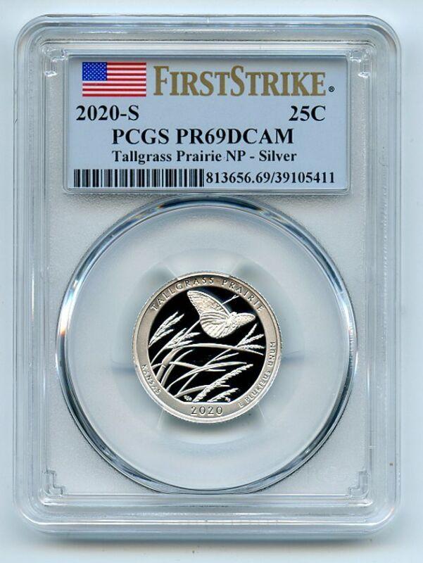 2020 S 25C Silver Tallgrass Prairie Quarter PCGS PR69DCAM First Strike