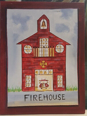Canvas Red Fire House Fire Station Picture Wall Art on Wood Frame 17x13 3/4""
