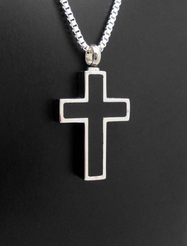 Black & Silver Keepsake Memorial Cross Cremation Funeral Urn Pendant Jewellery