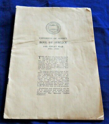 BOOKLET UNIVERSITY OF SYDNEY ROLL OF SERVICE THE GREAT WAR 1914-1918 #24