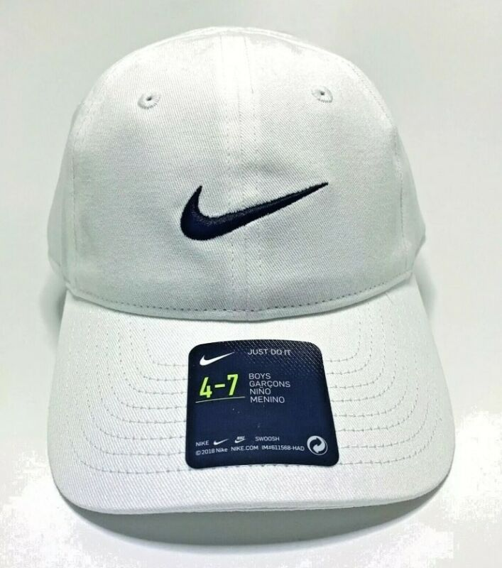 Nike Youth Boys Embroidered Swoosh Logo Brand White Baseball Cap Hat Ages 4-7