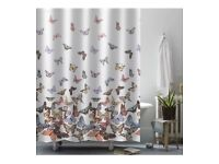 Butterfly print shower curtain, new, without hooks