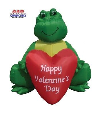 6' Valentines Day Frog Holding A Heart AIR Blown Inflatable Lighted Yard Decor](Valentine Inflatable)
