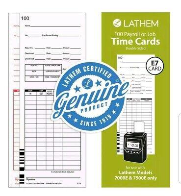 Lathem Universal Payrolljob Time Cards Double-sided For Lathem 7000e 7500e